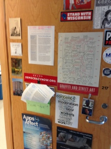 Steve Salaita factsheet featured on faculty office door!